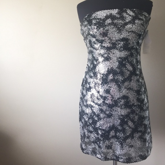 a5ceb56a329 Ruby Rox Black and Silver Strapless Party Dress
